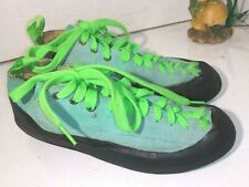 5.10 Five Ten Teal Green Suede Lace Up Stealth Rock Climbing Shoes mens 41 Eu S