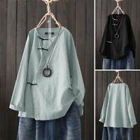 ZANZEA Women Buttons Round Neck Casual Long Shirt Tops Loose Plain Blouse Plus