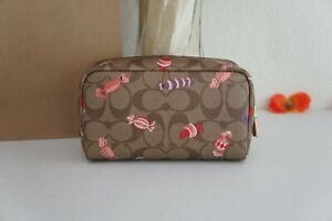 NWT COACH C1388 SMALL COSMETIC CASE BOX WITH SIGNATURE CANDY KHAKI MULTI $128