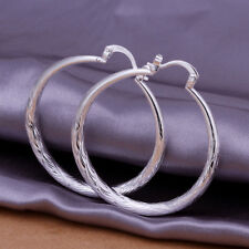 Cool 925Sterling Silver Large Fishskin Small Circle Women Earrings Hoop EP292