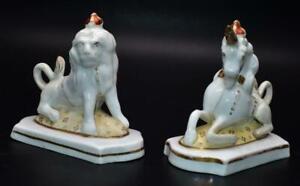 Pair Antique Staffordshire Porcelain Lion and Unicorn Royal Figures Circa 1830