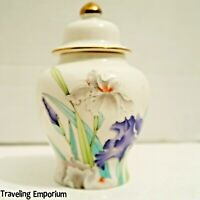 Vintage 1970's Otagiri Spice Ginger Jar Iris Bouquet Gold Accents Small Japan