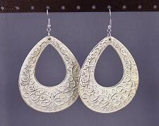 Gold White teardrop earrings big huge giant lightweight dangle scroll oval