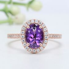 Purple Amethyst Oval Stone Ring 10K 14K Solid Gold Engagement Gift Ring GN52