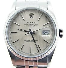 Rolex Datejust Men Stainless Steel Watch Jubilee Band Silver Tapestry Dial 16220