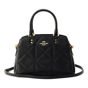 NEW Authentic Coach 91172 Mini Lillie Carryall With Quilting In Black Leather