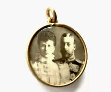 ANTIQUE GEORGE V & QUEEN MARY GOLD TONE DOUBLE SEPIA PHOTO PENDANT FOB