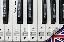 More details for music 88 key keyboard or piano clear laminated black & white key stickers