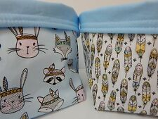 Fabric Nursery Baskets -Tribal Bunnies Foxes Badgers Feathers -  Blue