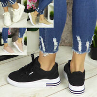 Ladies Trainers Womens Sneakers Platform Lace Up Comfy Classic Bling Pumps Shoes