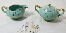 Vintage English Sadler Cream And Sugar Blue Teal Trimmed With Gold #2364 Signed