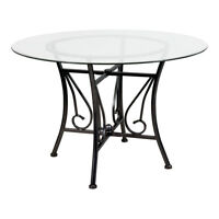 Syracuse Round Glass Dining Table with Silver Metal Frame