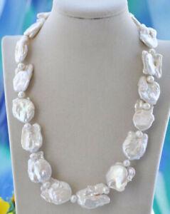 "Huge 20"" 30mm White Baroque Keshi Reborn Natural Pearl Bead Necklace"