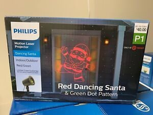 PHILIPS Motion Laser RED DANCING SANTA Christmas Projector Green Dot Pattern