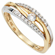 Damen Ring 333 Gold Gelbgold Wei�Ÿgold bicolor mit Zirkonia Goldring Zirkoniaring