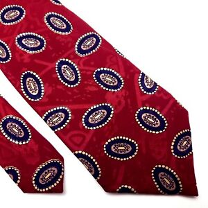 Ferrell Reed Silk Tie Red Geometric Print Hand Made USA