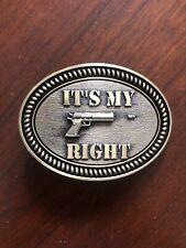 It's My Right Gun Pistol USA 2nd Amendment Metal Unisex Men's Belt Buckle