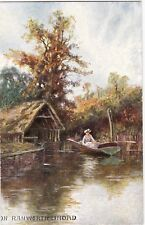 Artist Drawn, Lady in Boat, RANWORTH BROAD, Norfolk