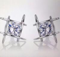 Womens Square Pierced Silver  Crystal Zircon Stud Earrings