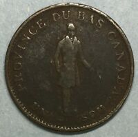1837 Quebec Bank Canada Half Penny Copper Bank Token #SS770