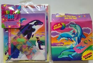Vintage Lisa Frank notecard set & 6ft stickers Dolphins Whales beach NOS