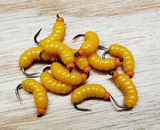 12 Orange Bh Rubber Wax Worm Grub Yel/Org Wet Fly - Trout, Crappie, Pan Fish