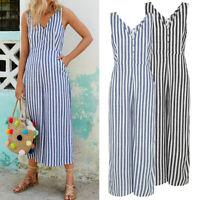 Summer Women Plus Size Sundress Romper Casual Striped Wide Leg Jumpsuit Playsuit