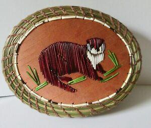River OTTER: Larger oval coiled sweetgrass basket w/birch bark -P St John-Mohawk
