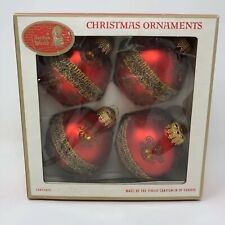 Vintage Santas World Glass Ornaments West Germany Christmas Red Ribbon Glitter
