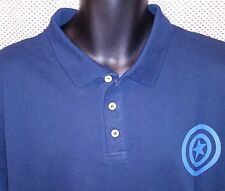 10ef645c1 Marvel Comics Blue Cotton Captain America Logo Polo Shirt NWOT - Mens Medium