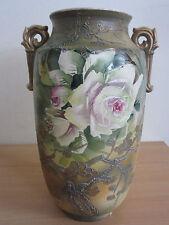 "Antique Japanese pottery double handle floral vase 12.25"" Nippon ?"