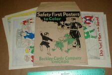 Vtg 1928 old Child Safety First Poster set Beckley Co Chicago USA Guns Fireworks