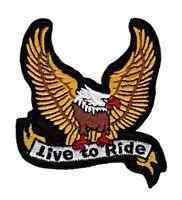 bc03 Adler Eagle Live to Ride Biker Aufnäher Bügelbild Patch Chopper Motorrad