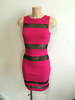 New Jane Norman Pink Black Mesh Body Con Wiggle Dress Size  8 TO 18
