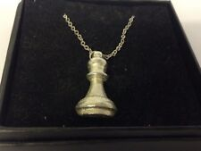 """Chess Bishop GT25 Pewter On 16"""" Silver Plated Curb Necklace"""