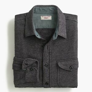 J.Crew Wallace & Barnes Heavyweight Flannel Shirt in Two-Tone Twill | S | Gray