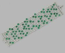 925 sterling silver CZ bracelet Green and White Round Statement Style Handmade
