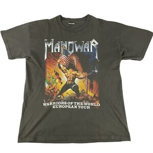 Manowar 2002 Warriors Of The World German Tour Mens T-Shirt Rare Heavy Metal XL