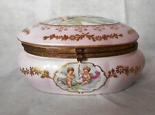 Antique 1900s Eisenberg Germany Kalk Porcelain Factory Pink Jewelry Box
