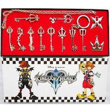 12 PCS/Set Kingdom Hearts II KEY BLADE Necklace Pendant Keyblade Keychain Silver