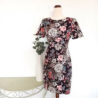 Review Dress Size 10 A-Line Short Sleeve Fitted Floral Print (No Belt) Brown