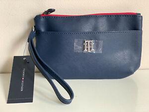 NEW! TOMMY HILFIGER NAVY BLUE SAFFIANO WALLET CLUTCH BAG POUCH WRISTLET $48 SALE