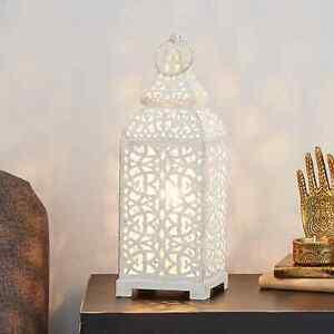Vintage Ivory Cream Moroccan Lantern Metal Electrical Table Lamp