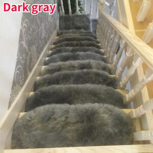 1X Soft Plush Arc Stair Treads Faux Wool Carpet Mat Step Staircase Non-slip Rugs