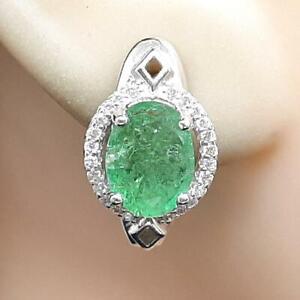 World Class 4.40ctw Colombian Emerald & Diamond Cut White Sapphire 925 Earrings