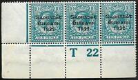 Ireland 1922 SG62 10d Blue Corner Strip of 3 Control T 22(P) MNH OG CV £72+++