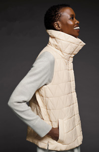 Eileen Fisher Chevron Quilted Nylon Light Puffer Vest, Plus 1X Icing $298