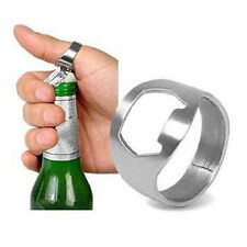 Usage 10x Finger Thumb Ring Bottle Opener Bar Beer Tool Silver Stainless Steel