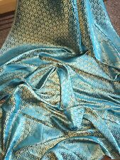 "1 MTR TURQOISE/GOLD BROCADE FABRIC...45"" WIDE £3.99 NEW IN STOCK"