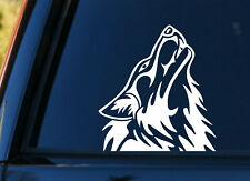 Howling Wolf  Vinyl Decal Sticker Car Window Bumper White  +